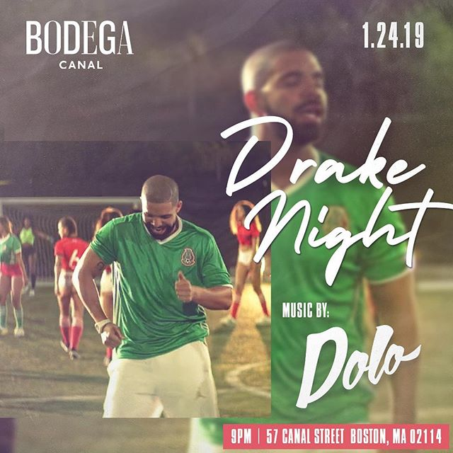 So much news to share this week! Drakeeee (Soulja Boy voice) Night @bodegacanal a week from today 1.24.19 - 9pm -  no cover - all Drake and Drake features (oh it's also my bday weekend)