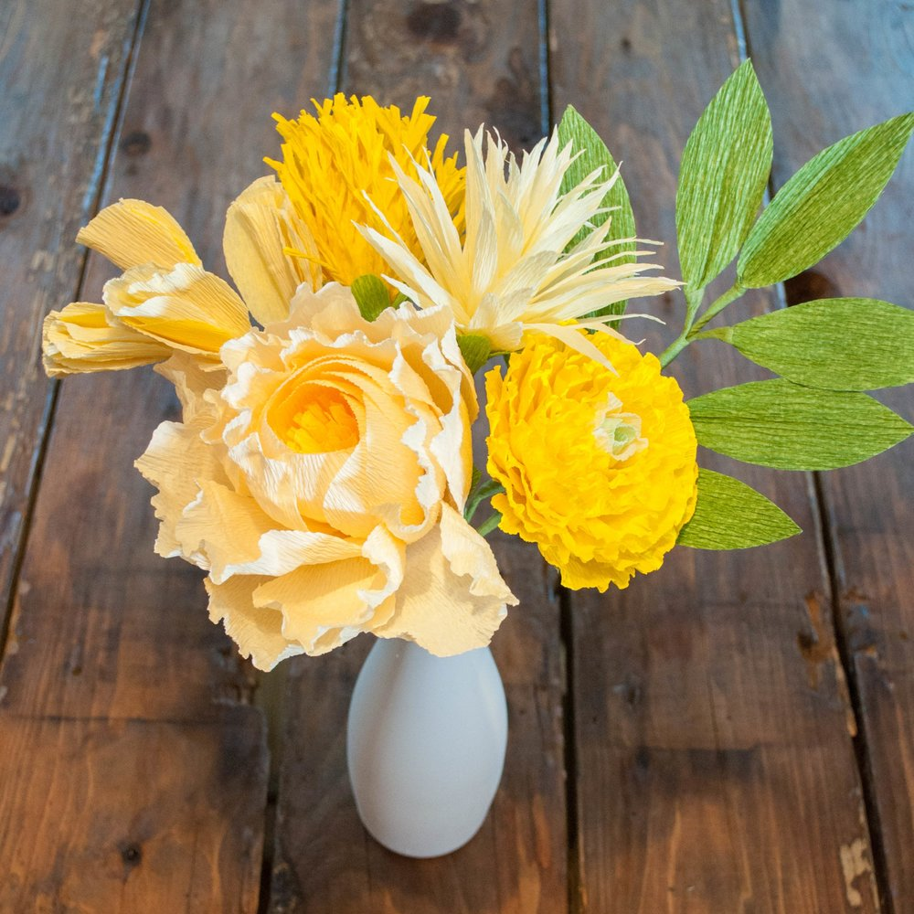 Build this 6-stem bouquet! Recipe: French vanilla peony, yellow sweet pea, yellow globe amaranthus, yellow water lily, yellow Japanese ranunculus, grass green leaves.