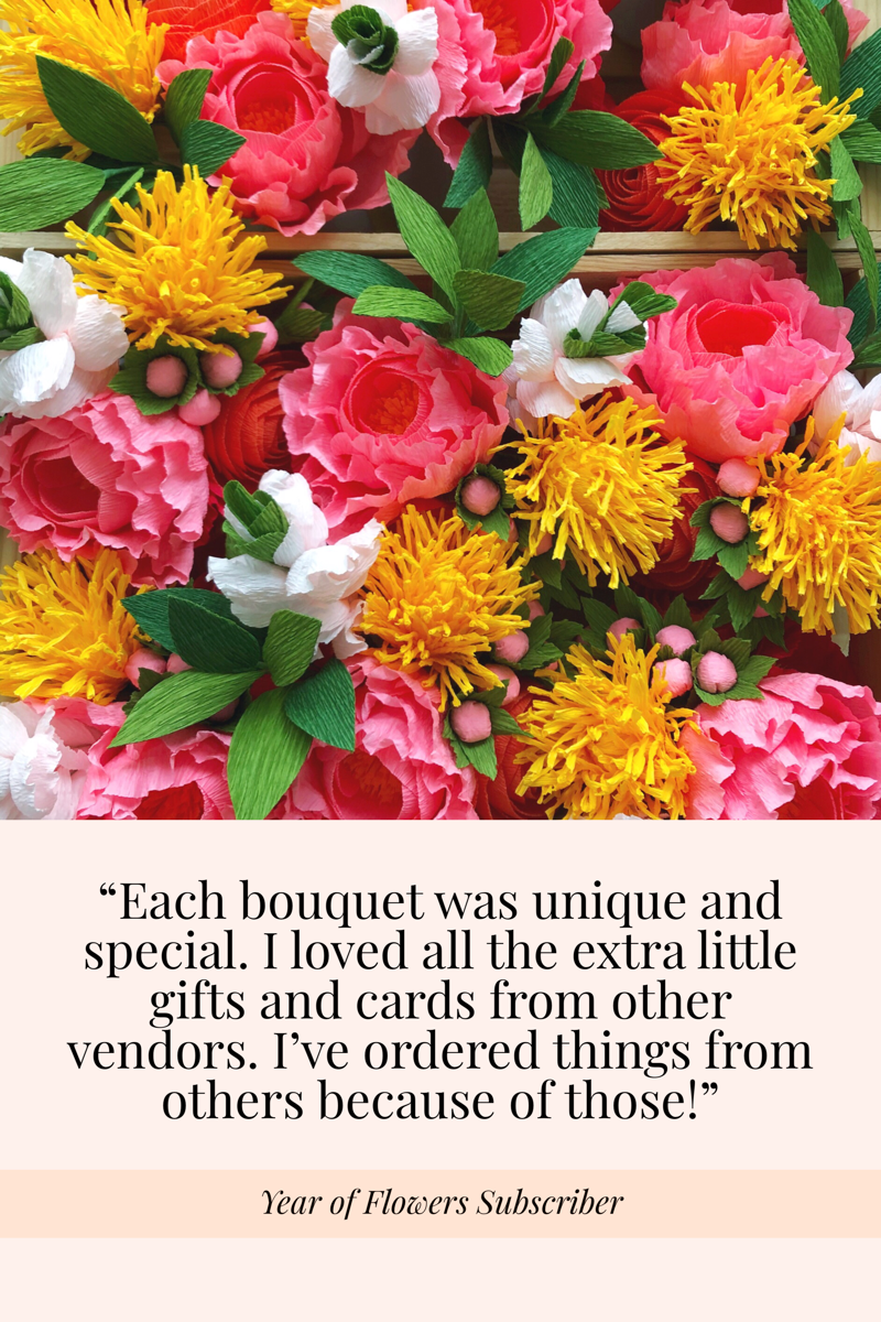 My Year of Flowers was a gift for my mom and she really enjoyed receiving them each quarter.I love that she loved them. (1).png