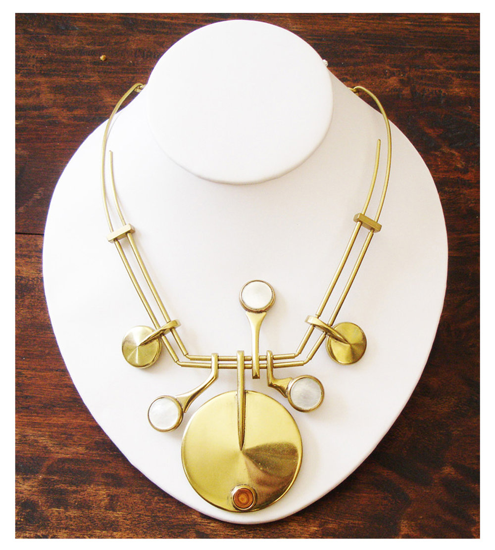 Barrett Rogers - necklace, saxophone, brass rod and saxophone parts, 2015