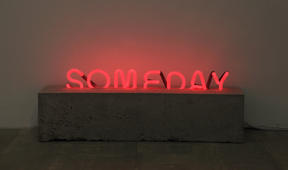 Scott Young - someday, neon sign & cement, 2018