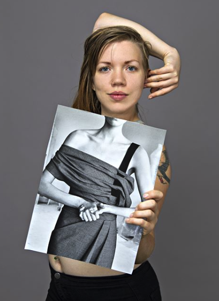Paula Gillen - nikita holding a skinny model, archival ink jet print, 2016