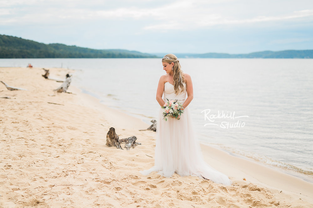 traverse city wedding photographer beach bride lake sand