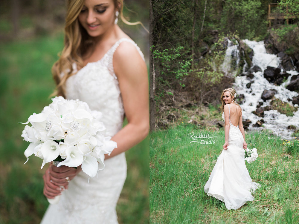 traverse city wedding photographer bride waterfall lily bouquet