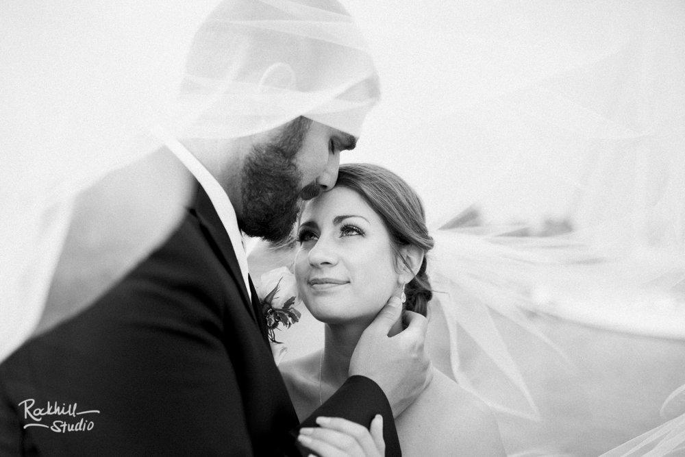 traverse city wedding photographer bride and groom under veil