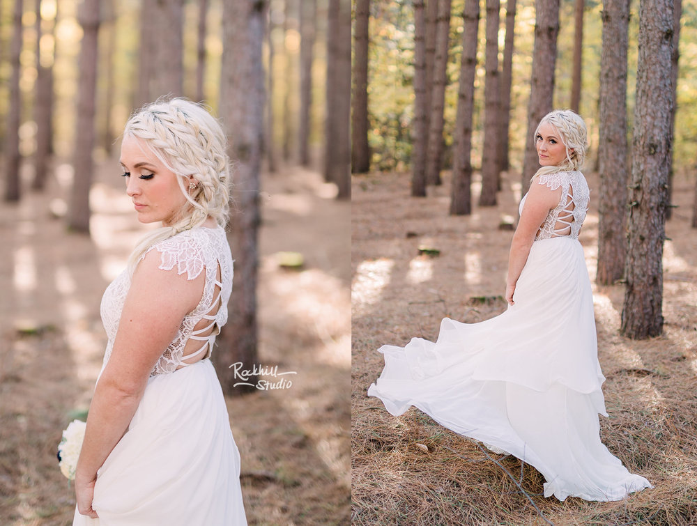 Traverse city wedding photographer bride in tall pines