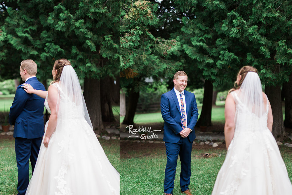 Drummond Island Wedding, Bride and Groom first look, Traverse City Wedding Photographer Rockhill Studio