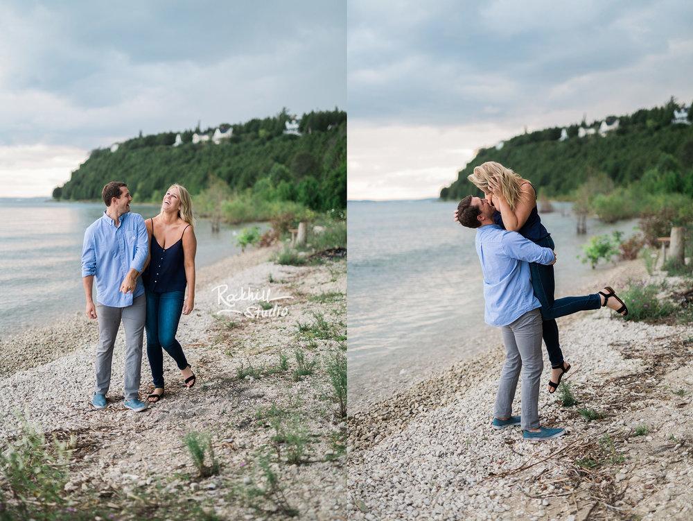 Mackinac Island Engagement, Grand Hotel Sadies Ice cream parlor, Traverse City wedding photographer Rockhill Studio