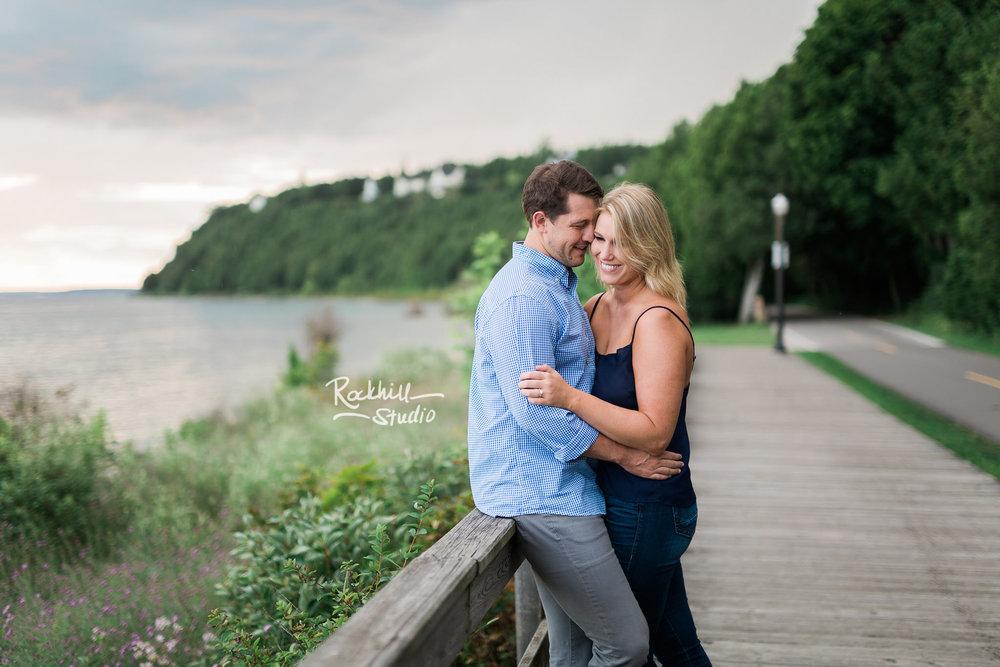 Mackinac Island Engagement, boardwalk, Traverse City wedding photographer Rockhill Studio