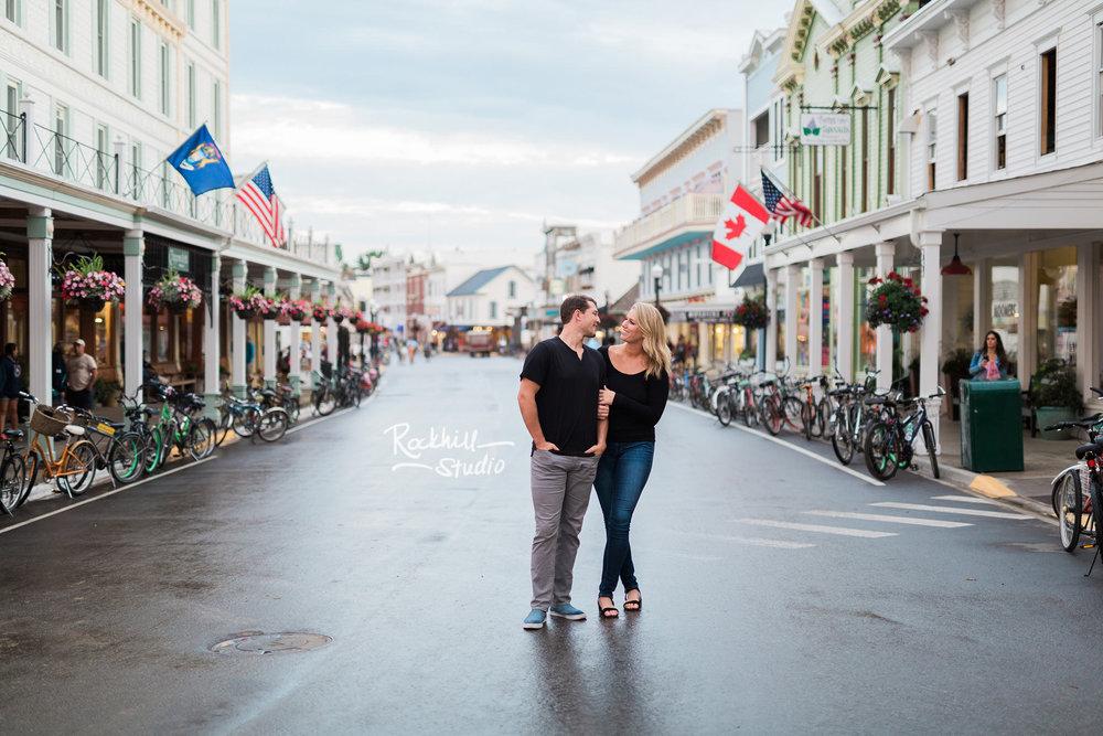 Mackinac Island Engagement, downtown main street, Traverse City wedding photographer Rockhill Studio