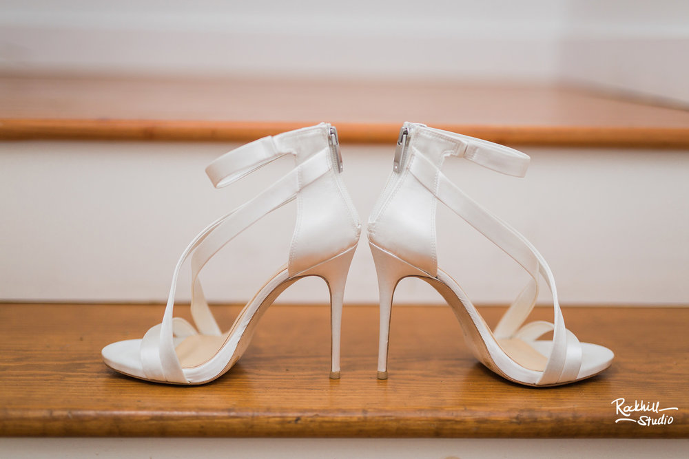 Northport Getting ready detail, wedding shoes, Traverse City wedding photographer Rockhill Studio