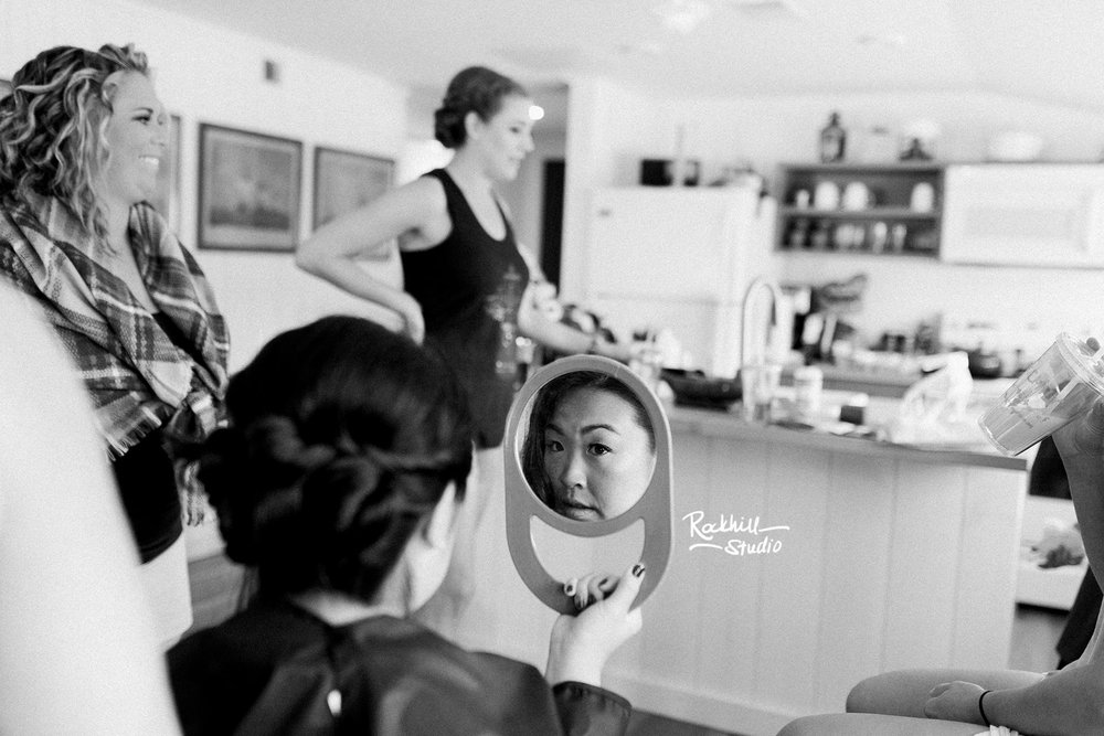 Northport Getting ready detail, makeup brushes, Traverse City wedding photographer Rockhill Studio