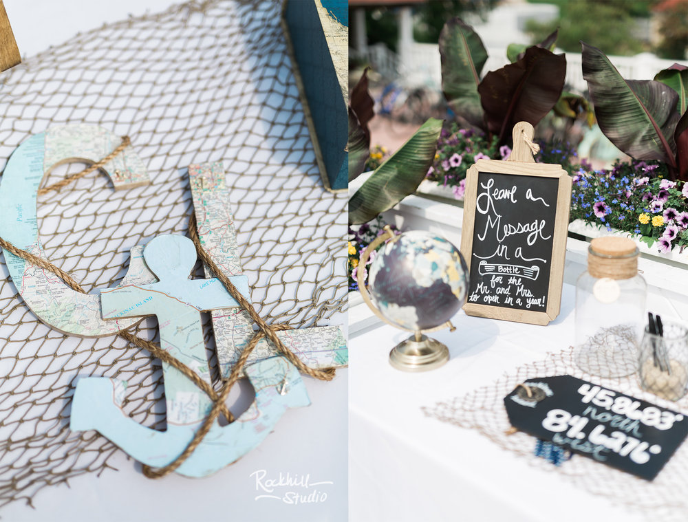 Nautical wedding decor, Mission Point Resort Wedding, Traverse City wedding photographer Rockhill Studio
