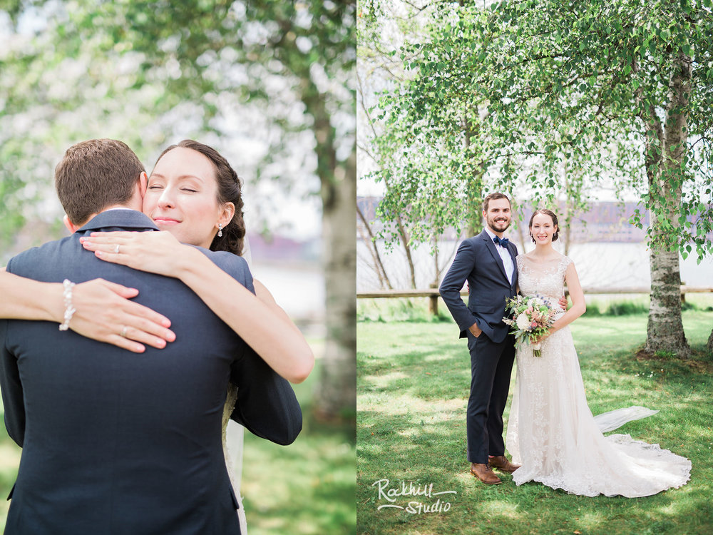 Bride and groom first look, Traverse City wedding photographer Rockhill Studio