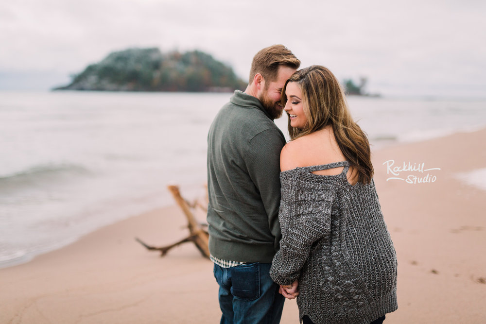Northern Michigan Engagement photographer, couple on the beach