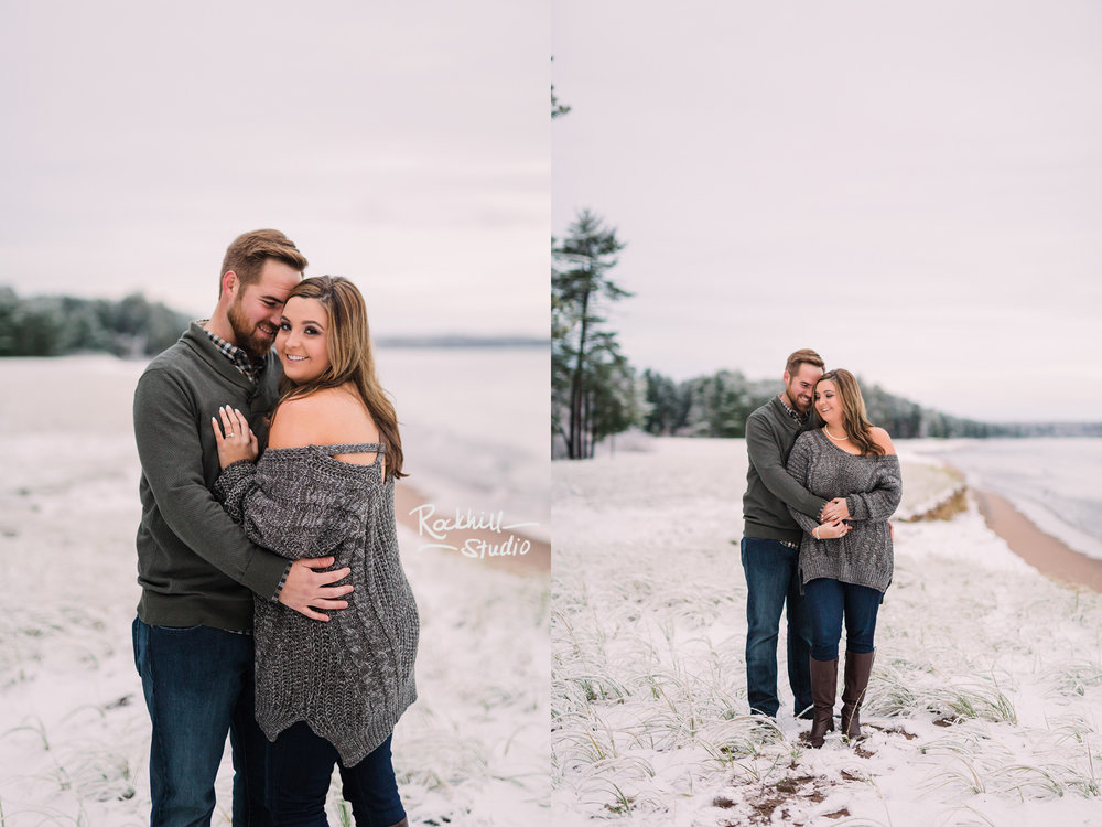 Northern Michigan Engagement photographer, couple on the beach, traverse city
