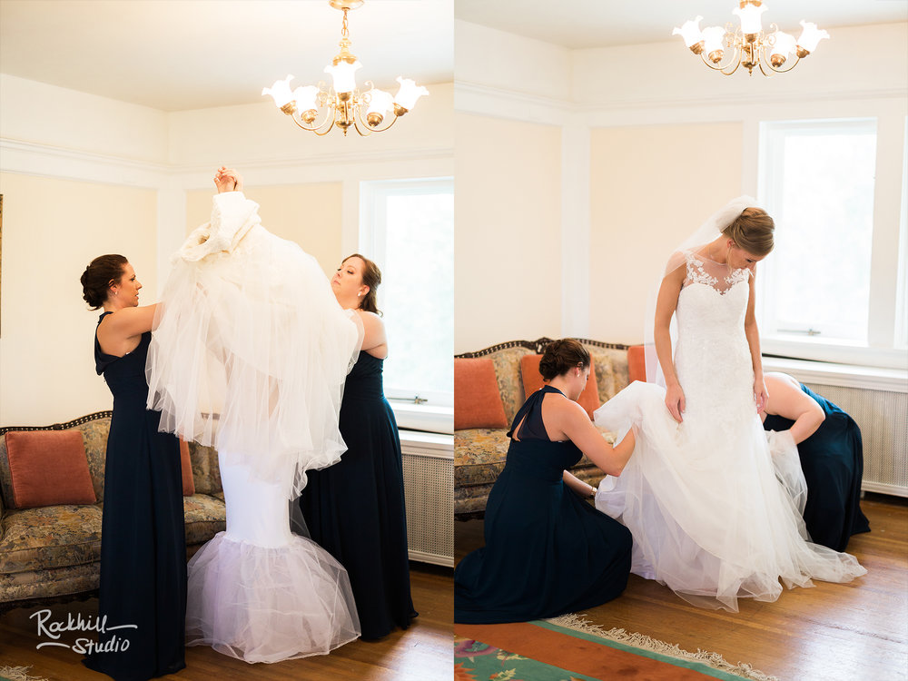 Traverse City Wedding Photographer, brides wedding dress hanging, Rockhill Studio, destination wedding photography