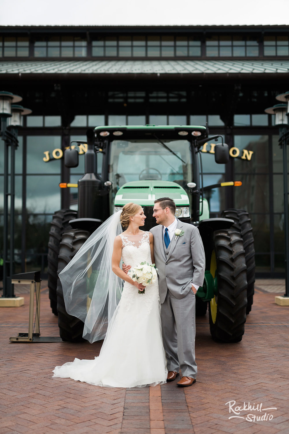Traverse City Wedding Photographer, bride and groom portraits, john deere, Rockhill Studio, destination wedding photography
