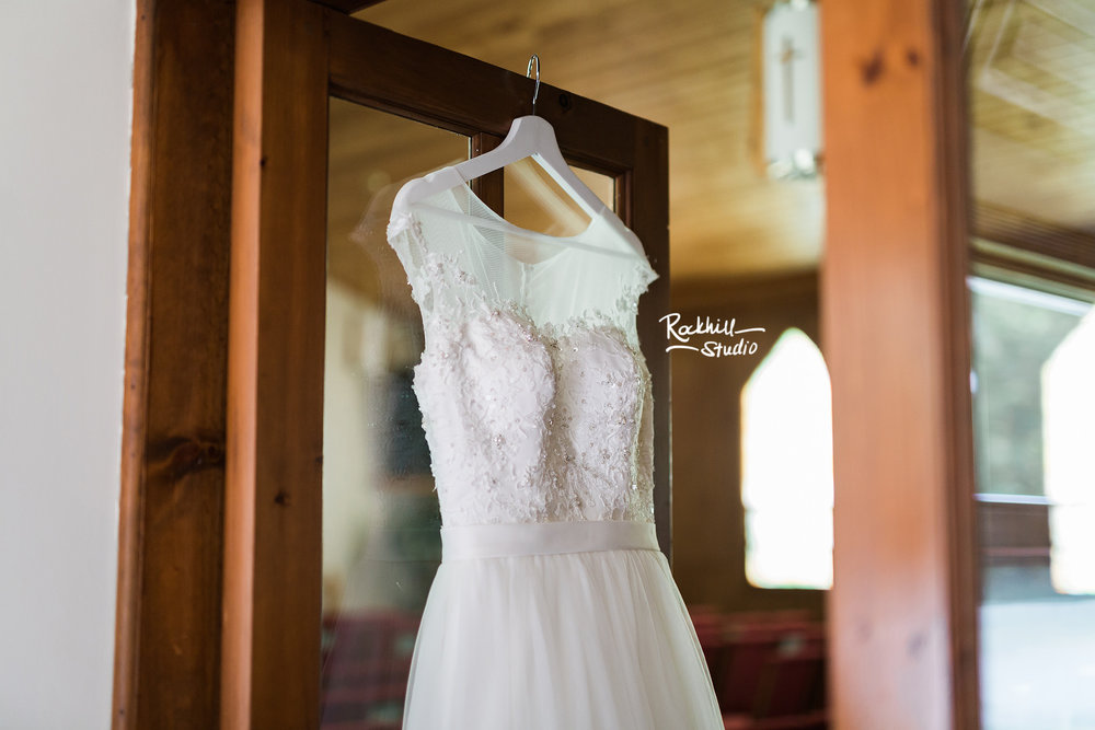 Drummond Island Church, dress detail, Traverse City Wedding Photographer Rockhill Studio