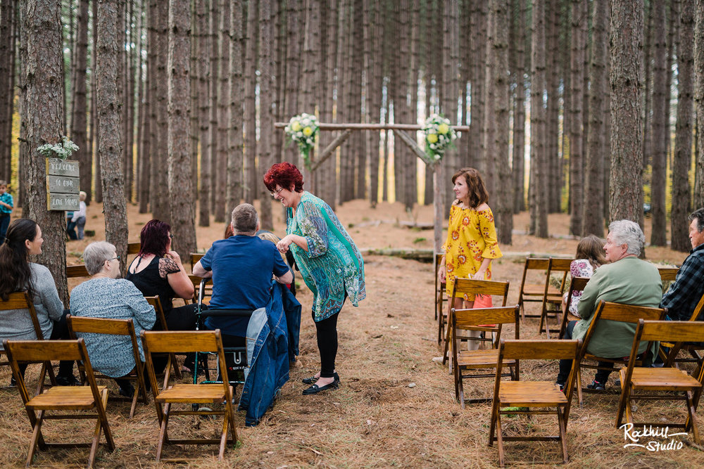 Traverse City Wedding Photographer, northern michigan pine trees ceremony, Rockhill Studio
