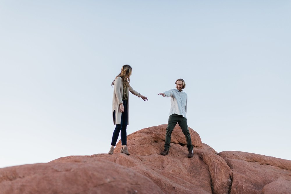 Couple on engagement session in Garden of the Gods, Colorado, by Rockhill Studio, Traverse City Engagement and Wedding Photographer