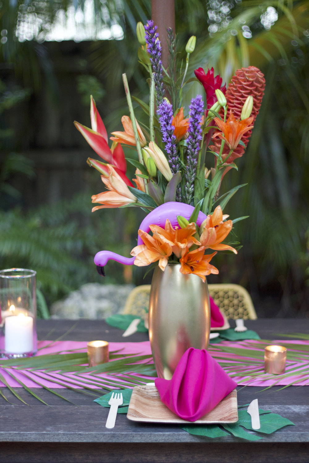 Here's a close-up of one of the large tropical floral arrangements.
