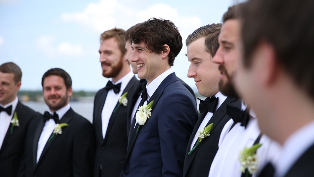 Conor was all smiles waiting to meet Tanya at the altar.