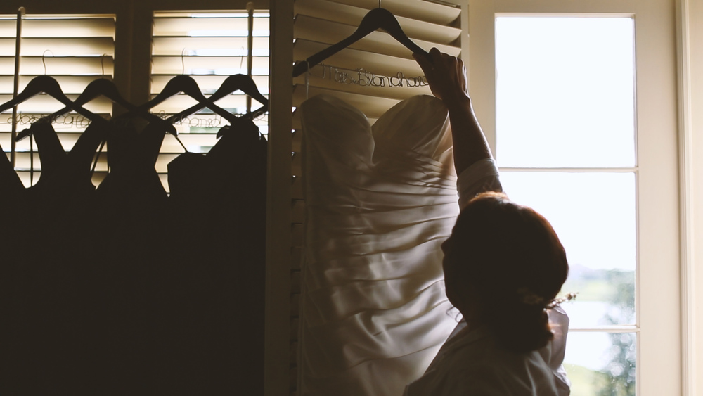 We love personal wedding hangers.