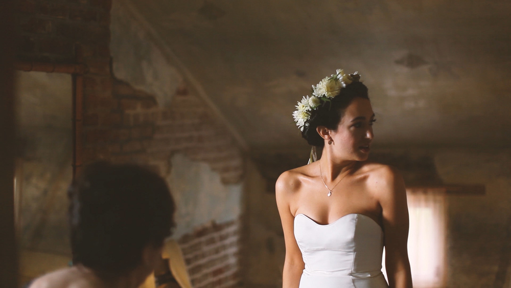 The bride's floral crown was the perfect accent to her beautiful dress.