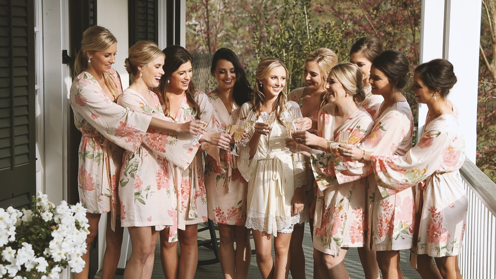 Bridemaids Toasting in Robes - Bride Film