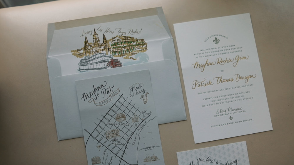Meghan and Pat_New Orleans Wedding Videography_invitations