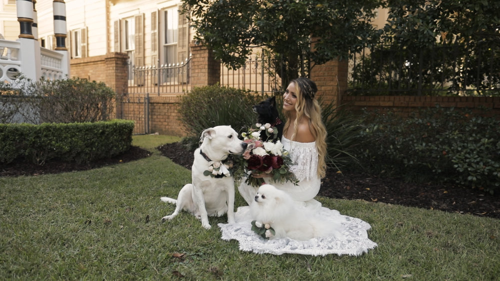 Annalisa and Anthony_New Orleans Wedding videography_bride with dogs