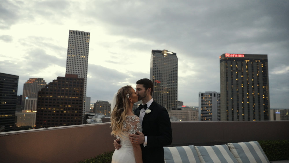 Latrobe New Orleans Wedding Video_Shaina and Seth_skyline kiss