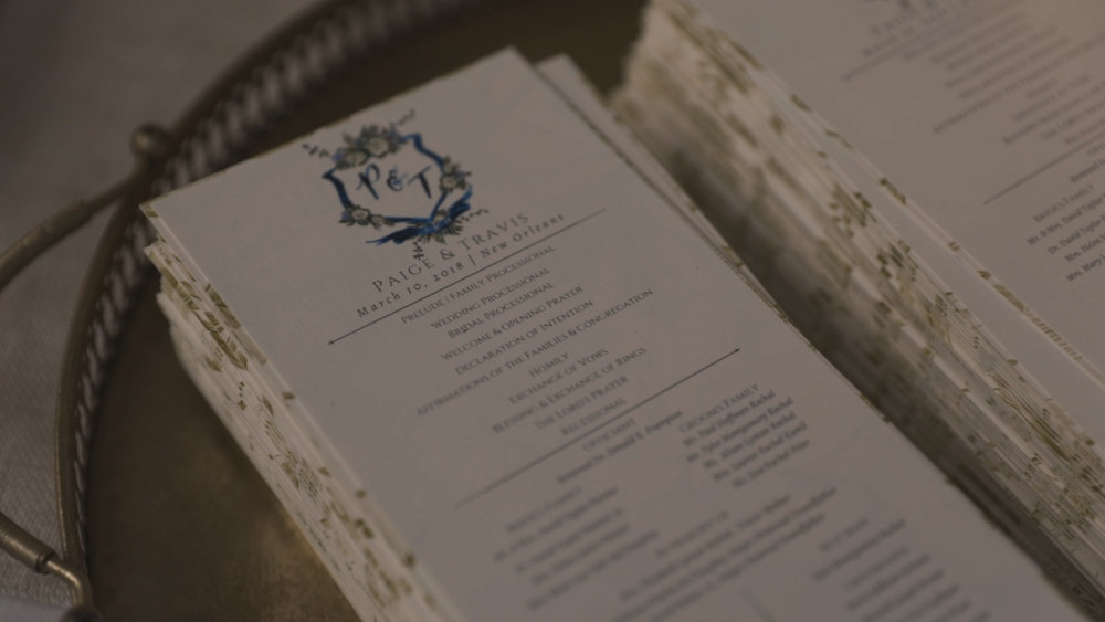 New Orleans Wedding Video_Elms Mansion_Paige and Travis_Wedding program