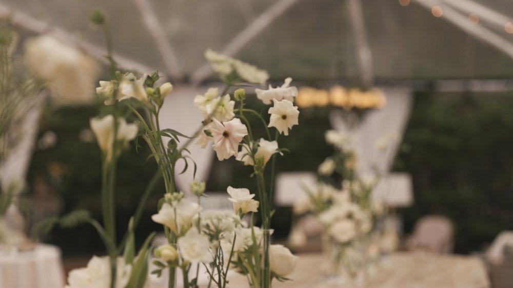 New Orleans Wedding Video_Elms Mansion_Paige and Travis_floral table arrangement