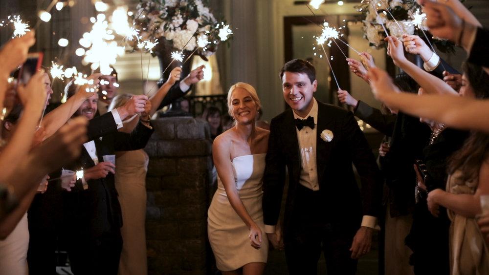 New Orleans Wedding Video_Elms Mansion_Paige and Travis_sparkler exit