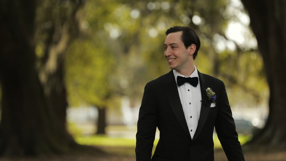 Anya and Max_New Orleans Wedding Video_Bride Film_Peristyle City Park_First look groom reaction