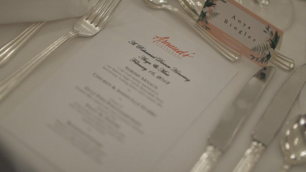 Anya and Max_New Orleans Wedding Video_Bride Film_Arnauds Rehearsal Dinner_Menu