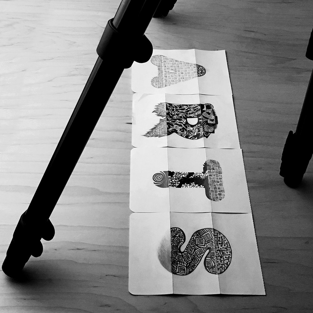 exquisite corpse alphabet. initial sketches