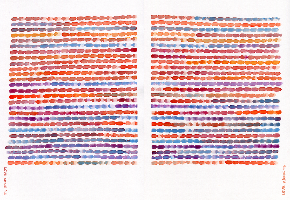 "The Conversation Series: ""Pillowtalk"" Parts 1 and 2 (2015) Both 210x297mm, watercolour 300gsm hot pressed Arches paper"
