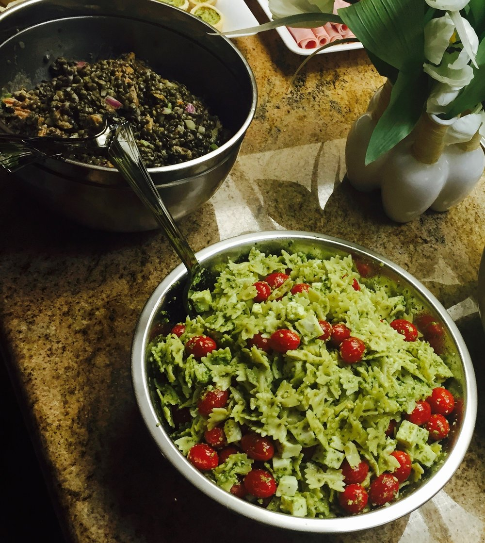 Salads : 1. Lentil salad, 2. Pasta salad with tomato, mozzarella and pesto,