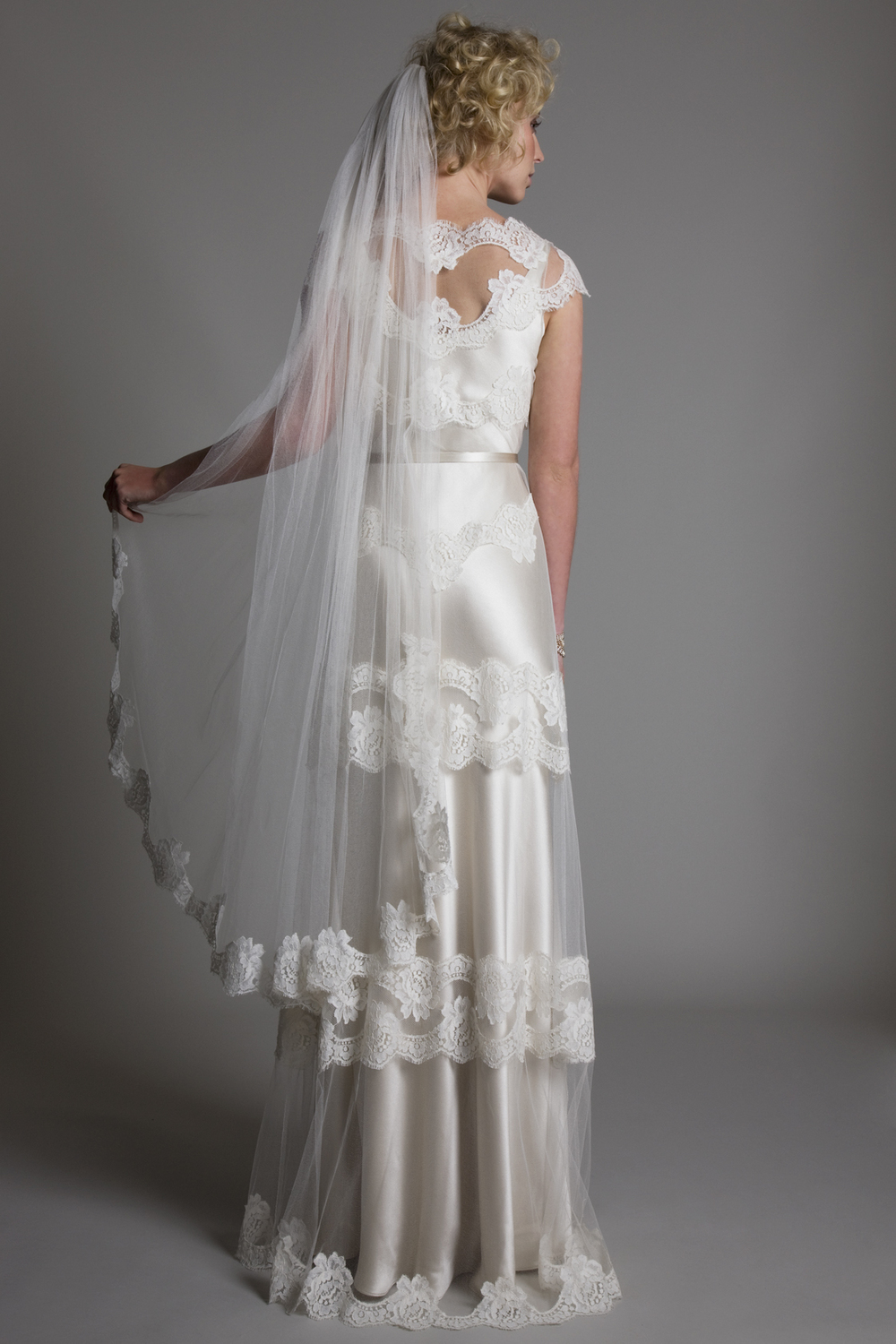 Back view of the Emily Tulle and French Lace Dress with Narrow Belt Bridal Wedding Dress by Halfpenny London