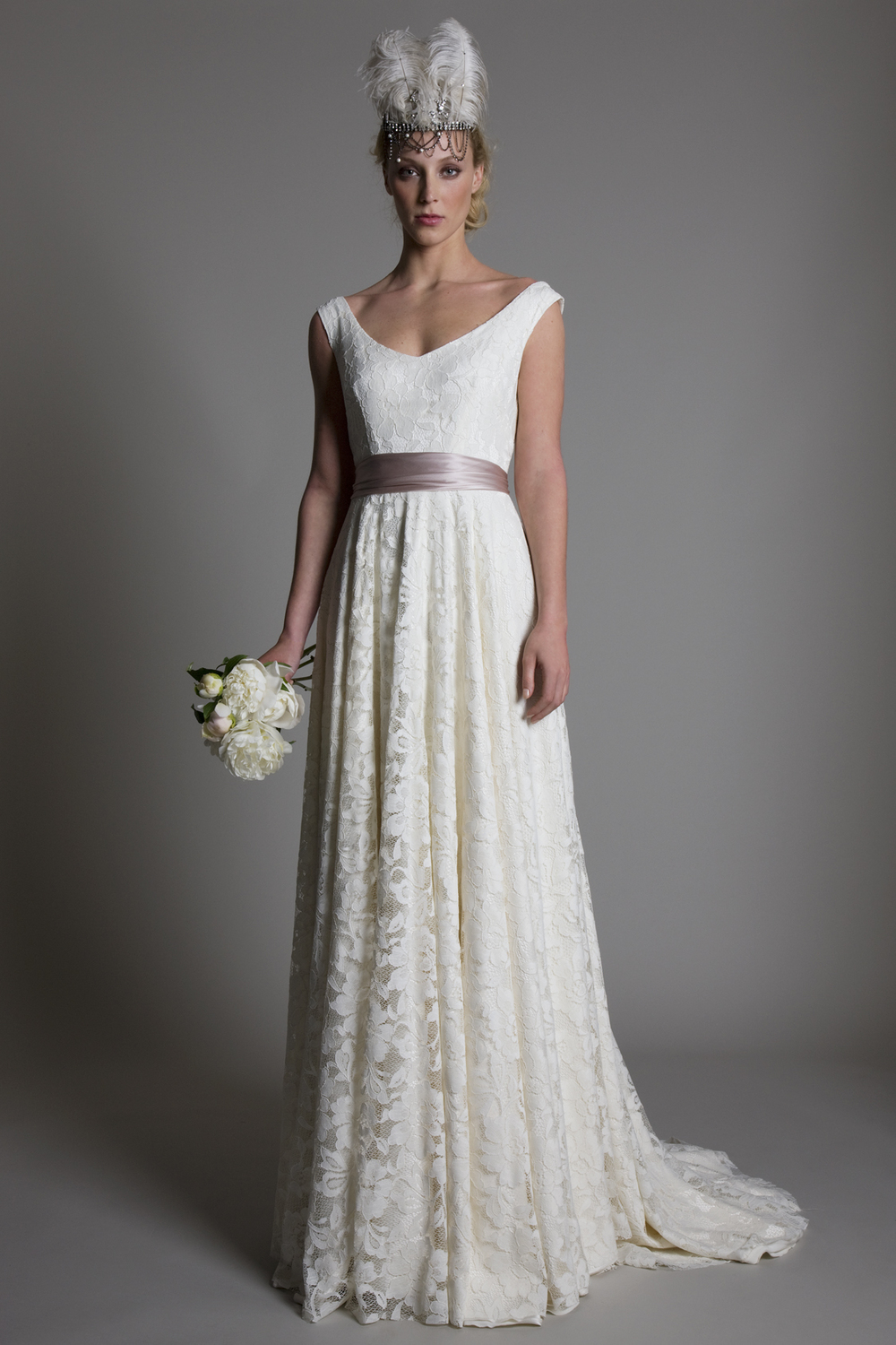 Andrea scoop neck and V back full lace A line bridal wedding dress by Halfpenny London