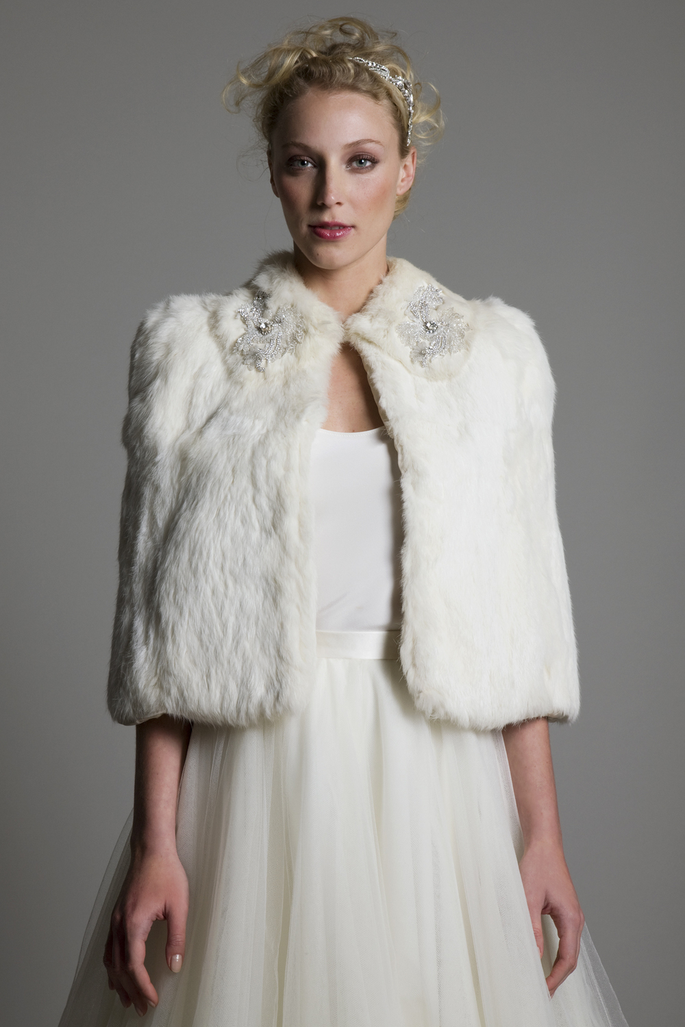 FUR CAPE WITH EMBELLISHMENT