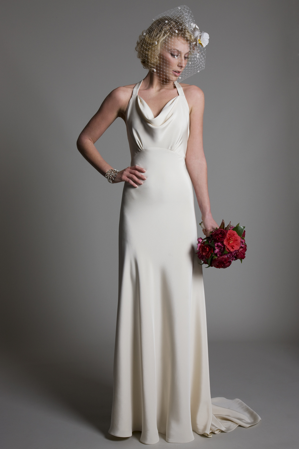 Lucy cowl neck low open back A line crepe back satin bridal wedding dress by Halfpenny London