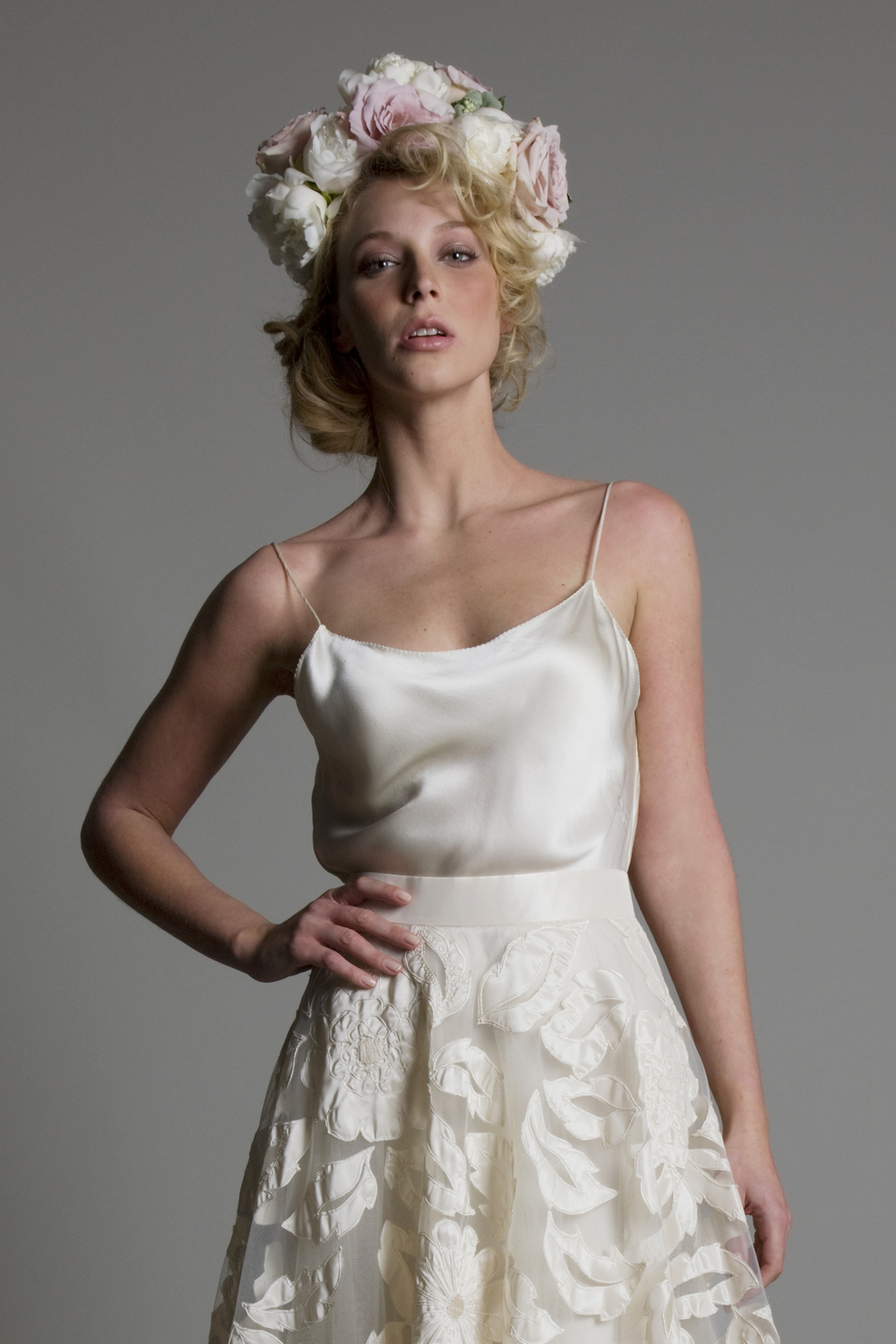 Detailed view of the Susie hand appliques tulle skirt with Iris backless bias cut slip wedding dress by Halfpenny London