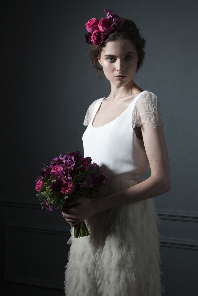 Detailed view of the Swan crepe tee with chantilly lace cap sleeves Bridal wedding dress by Halfpenny London