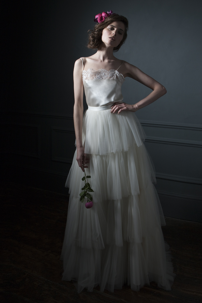 Rita Frill Tulle Skirt with Lace edge Camisole and Spaghetti straps bridal Wedding Dress by Halfpenny London
