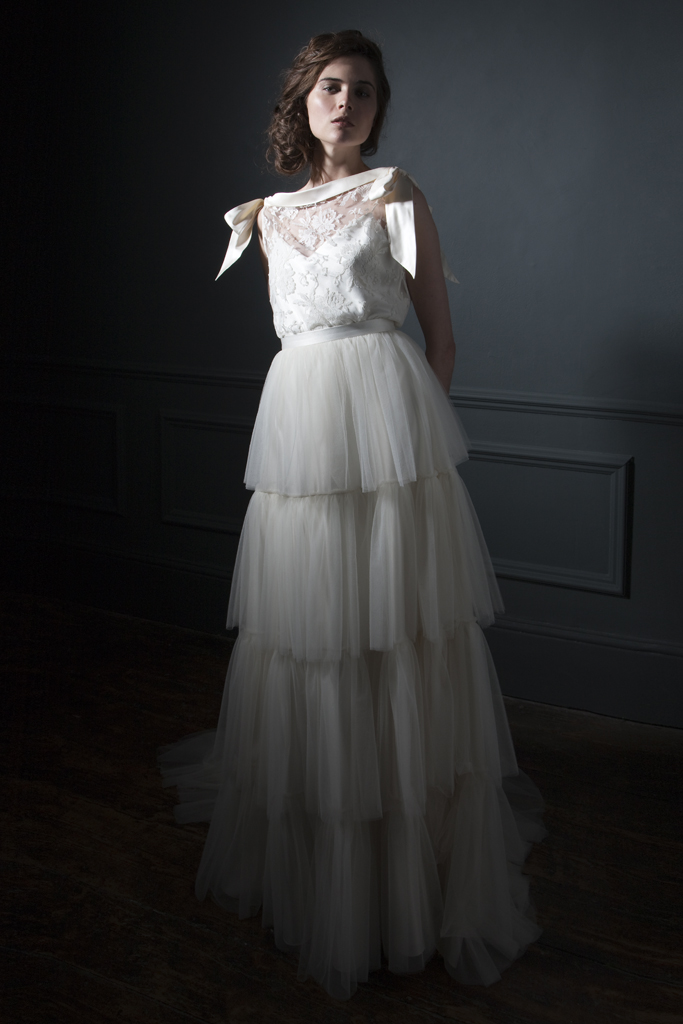 Irene French Lace Tee and silk bow shoulder details paired with the Rita silk tulle frill skirt Bridal wedding dress by Halfpenny London
