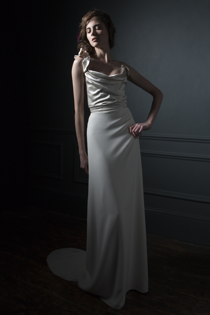 Andrea Duchess silk corset and crepe column skirt bridal wedding dress by Halfpenny London